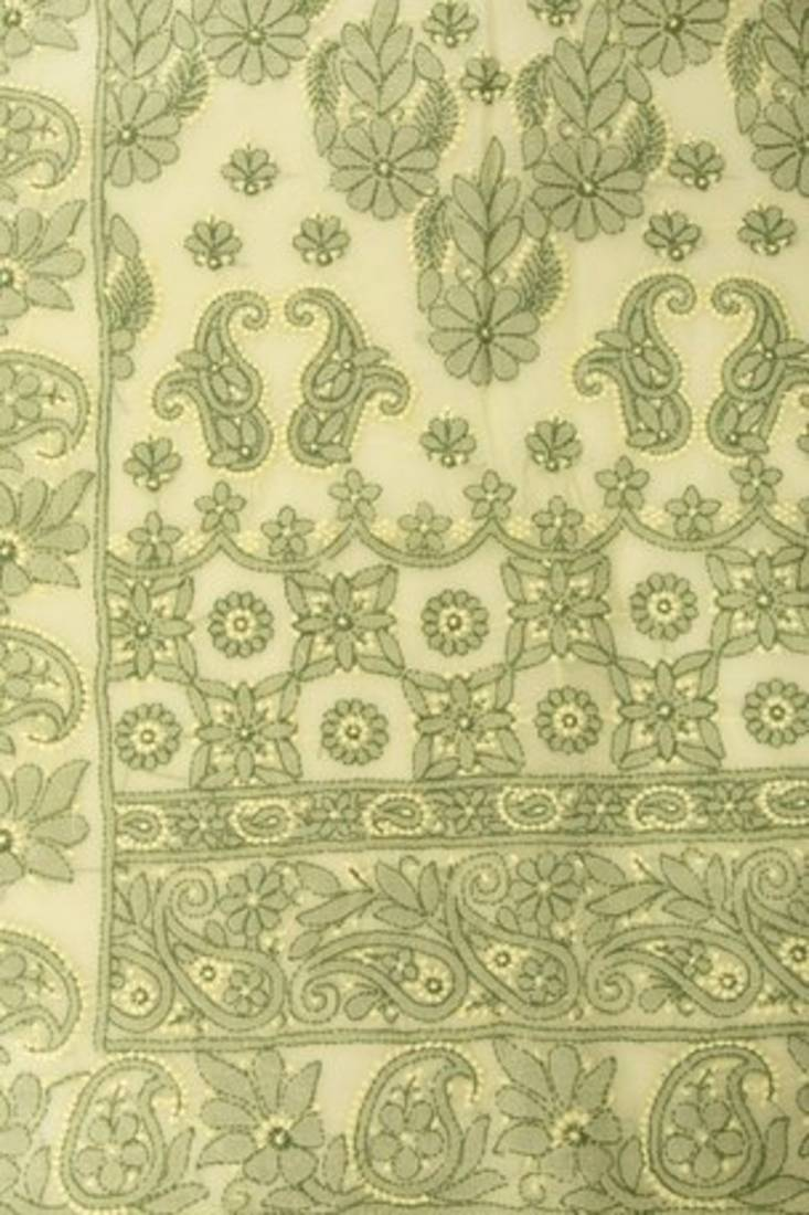 Buy Hand Embroidered Green Cotton Lucknowi Chikan Saree With Blouse Online