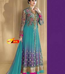 Buy Sky blue net embroidered semi stitched salwar with dupatta hot-deal online