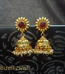 Gold JHUMKAS - maroon top  shop online