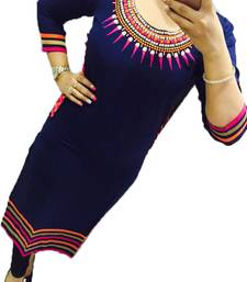Buy Navy blue embroidered georgette stitched kurti georgette-kurti online