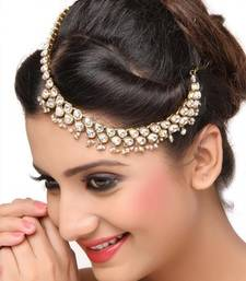 Buy Hair Styling Designer Matha Patti For Wedding Gold Finishing in White pakistani-jewellery online