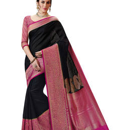 Buy Black and Pink Woven Kanchipuram Spun Silk Saree With Unstitched Blouse kanchipuram-silk-saree online