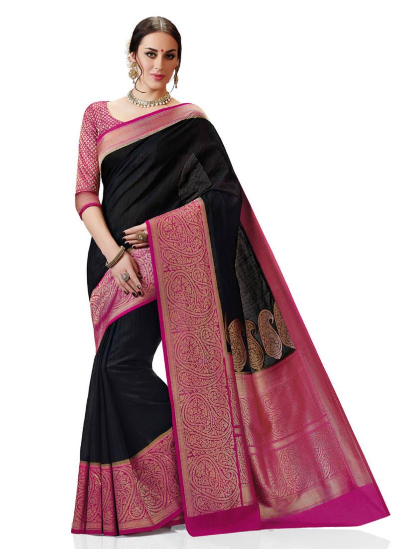 Buy Black And Pink Woven Kanchipuram Spun Silk Saree With
