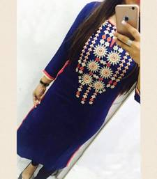 Buy Blue Embrodery GeorgetteLong  Kurti Selfie Kurti party-wear-kurti online