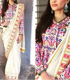 Buy cream embroidered art silk saree With Blouse sonam-kapoor-saree online