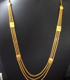 Buy Golden three line long necklace Necklace online