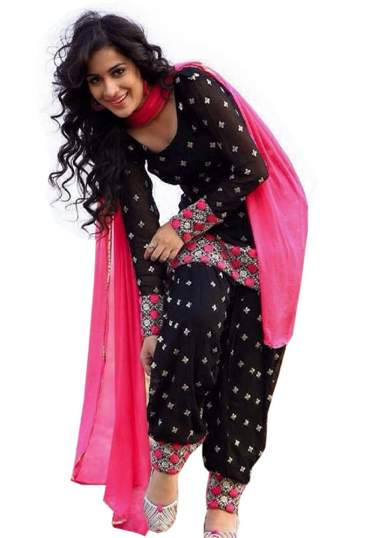 Buy Black Cotton Embroidered Semi Stitched Salwar With