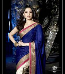 Buy ROYAL BLUE AND CHIKU , SILKY VELVET AND JACQUARD DESIGNER SAREE WITH BLOUSE tamanna-bhatia-saree online