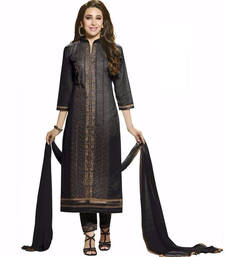 Buy Black cotton embroidered semi stitched salwar with dupatta cotton-salwar-kameez online