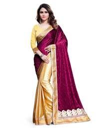 Buy pink embroidered velvet saree With Blouse velvet-saree online