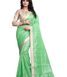 Buy Green Lace Border Jacquard saree With Blouse jacquard-saree online