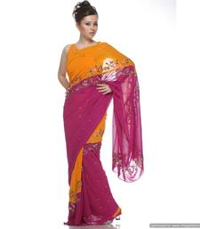 Buy A Two Sided Yellow And Magenta , Viscous Georgette Sari With Crystals , And Sequins georgette-saree online