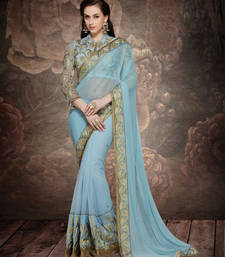 Buy aqua blue embroidered net saree With Blouse net-saree online