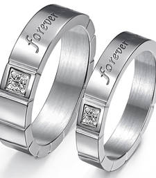 Buy Cara sterling silver and  certified Swarovski stone Square studs forever Couple Bands engagement-gift online