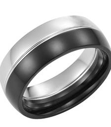Cara sterling silver and  certified Swarovski stone Silver and Black Ring for Men shop online