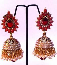 Buy Maroon stone work meenakari white pearl jhumka  anniversary-gift online