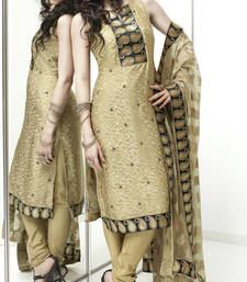 Buy Vishal faux georgette cream Dress material Kitten910 dress-material online