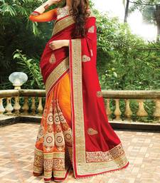 Buy red embroidered silk saree With Blouse ethnic-saree online