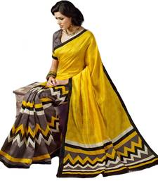 Buy YELLOW printed bhagalpuri silk saree With Blouse bhagalpuri-silk-saree online