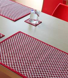 Buy Chekered Red and White Talipot Table mats - Set of four table-mats-and-runner online