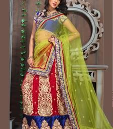 Buy BRIDAL LEHENGA CHOLI RAVISHING RED WITH GREEN NET DUPATTA bridal-lehenga online