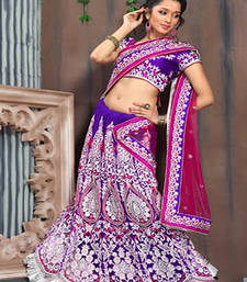 Buy Gracious Magenta Purple Pink Heavy Embroidered Net Lehenga Choli wedding-gift online