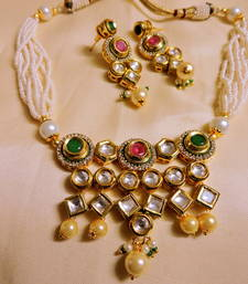 Buy Kundan red green stone gold plated necklace set necklace-set online