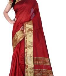 Buy red woven art silk saree with blouse silk-saree online