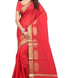 Buy red woven cotton saree with blouse chanderi-saree online