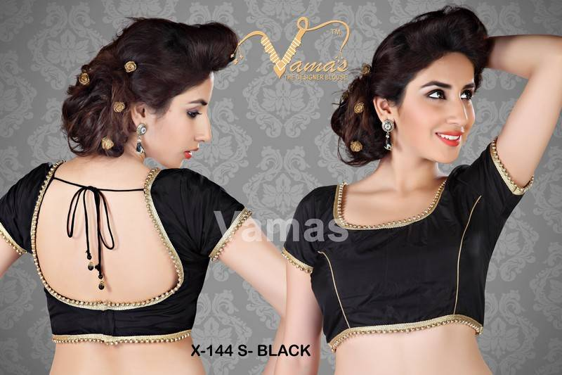 Buy Silk Matka-neck readymade Saree Blouse. X144s Black ...