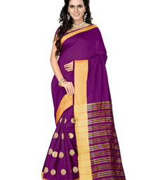 Buy Purple golden goli with embroidery work cotton saree cotton-saree online