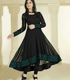 Buy Black Colour Faux Georgette Anarkali Salwar Kameez By Fabfiza anarkali-salwar-kameez online