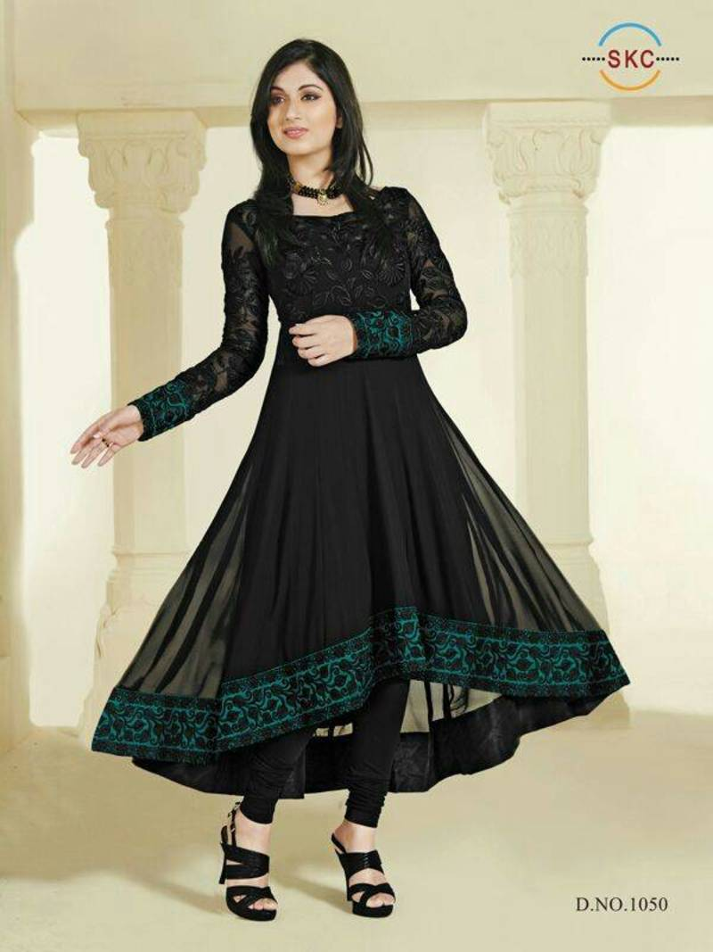 Buy Black Colour Faux Georgette Anarkali Salwar Kameez By