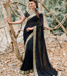 Buy black embroidered georgette saree With Blouse party-wear-saree online