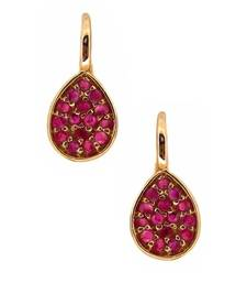 Buy Red Stone Embedded Gold Plated Earring Pair gemstone-earring online