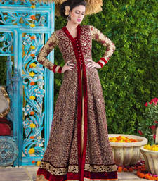 Buy Maroon embroidered velvet semi stitched salwar with dupatta pakistani-salwar-kameez online