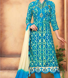 Buy Blue printed cotton unstitched salwar with dupatta cotton-salwar-kameez online