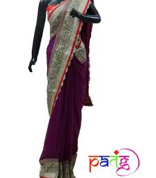 Buy Purple Zari Detail Sari chiffon-saree online