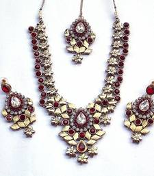 Indian bridal zircon and colored stone stud royal vintage necklace set shop online