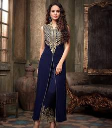 Buy Blue silk embroidered semi stitiched salwar with dupatta party-wear-salwar-kameez online
