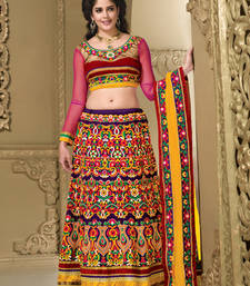 Buy Violet silk embroidered unstitched lehenga choli bridal-lehenga online