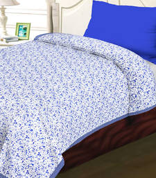 Buy White  and  blue cotton floral  and  chekered print single bed dohar (set of 2) quilt online