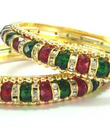 Bollywood bridal maroon green crystal cz bangle l01 shop online