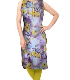 Buy Purple printed crepe stitched kurti eid-kurti online