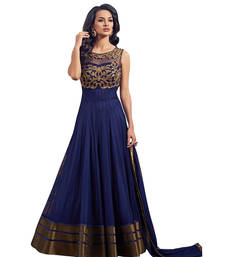 Buy Blue net, dhupian embroiderd semi stitiched salwar with dupatta party-wear-salwar-kameez online