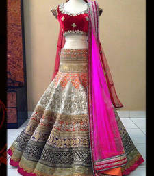 Buy Multicolor jacquard embroidered unstitched lehenga choli multicolor-lehenga online