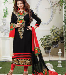 Buy BLACK COTTON EMBROIDERED SEMI-STITCHED STRAIGHT SUIT ayesha-takia-salwar-kameez online