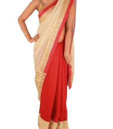 Buy Red and Creme Jute saree with Lace border jute-saree online