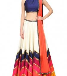 Buy Multicolour printed raw silk unstitched lehenga choli navratri-lehenga-chaniya-choli online