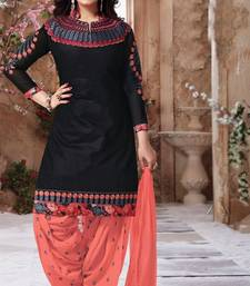Buy Black embroidered Cotton unstitched salwar with dupatta patiala-salwar online
